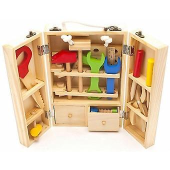 Деревянный многофункциональный инструмент Набор Обслуживание Box, игрушка Baby, Орех Комбинация