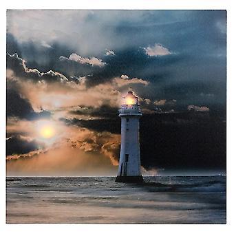 Sunset LED Ocean Lighthouse Canvas