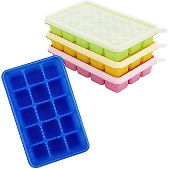 FengChun Eiswrfelbehlter mit Deckel Transparent (4Stk) - Flexible Eiswrfelform Silikon, Eiswrfelbox