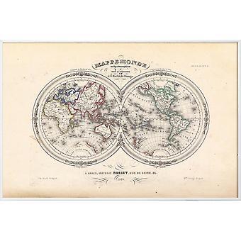JUNIQE Print - Map of The World In Hemispheres, Barbie Du Bocage - Affiches de cartographie en Gris & Noir