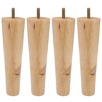 4Pieces 20cm de madera color de madera muebles patas con tornillo M8 para silla