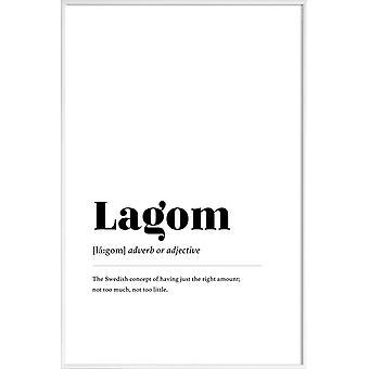 Stampa JUNIQE - Lagom - Poster tipografia & simboli in bianco e nero