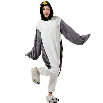 Regenboghorn Grey Penguin Costume Pajama Onesie Kigurumi Jumpsuit Animal Hoodie