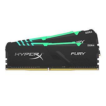 Kingston HyperX Fury RGB 16GB Zwart Koellichaam (2x8GB) DDR4 3200MHz DIMM Systeemgeheugen