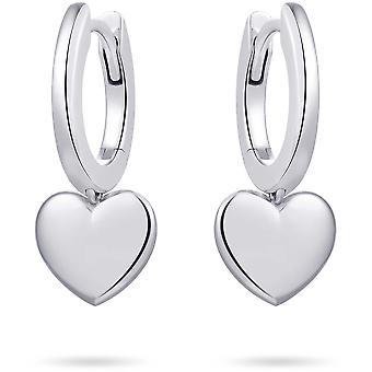 Gisser Jewels - Örhängen - Slät med gångjärn och rörligt hjärta - 9mm x 9mm - 13.5mmØ - Gerhodineerd Zilver 925