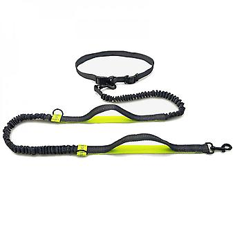 Mimigo Hands Free Dog Running Leash With Adjustable Waist Belt, Dual Handle Elastic Bungees Retractable Rope For Small Medium And Large Dogs, Reflecti