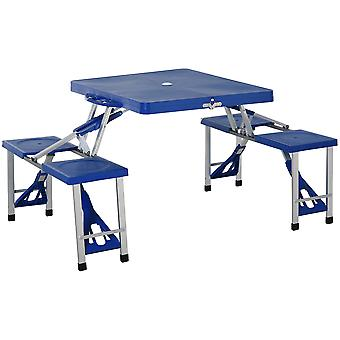 Outsunny Aluminum Picnic Table and Bench Set Camping Garden Party BBQ 4 Chair Stool Table Foldable and Portable - Blue