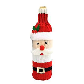 Garrafa de vinho de Natal cobre enfeites de Natal Papai Noel malhado saco de garrafa de vinho
