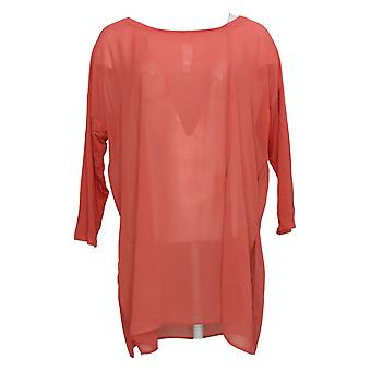 WynneLayers Women's Top Mixed Media Dolman-Sleeve Tunic Red 694604