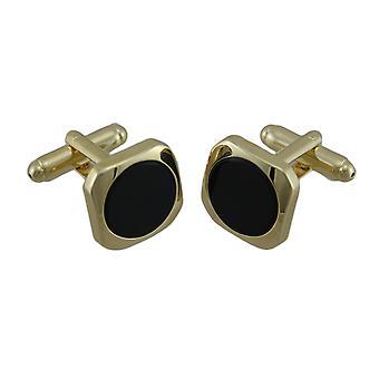 Gold plattiert eingelegten runden schwarzen Onyx Manschettenknöpfe