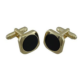 Abotoaduras de ouro chapeado embutidos redondos preto Onyx
