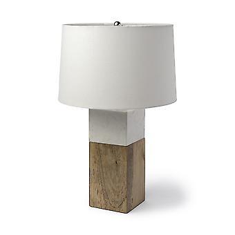 Mármol blanco y madera natural Bloque de mesa o lámpara de escritorio