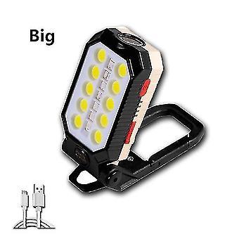Led light bulbs strong magnetic work light usb rechargeable led cob portable flashlight adjustable waterproof