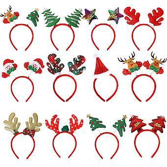 Paket med 12 julhuvudband med olika design