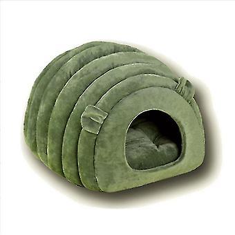 Pet Cat Kuld Vinter Semi-lukket Varm og fløjl Runde Pet Cat Bed (grøn)