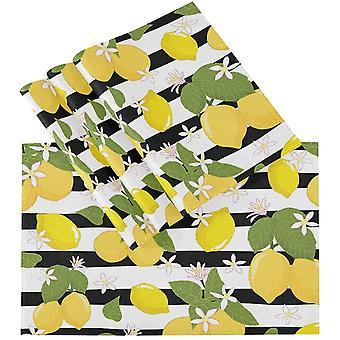 לימון פלסמט עיצוב מלבני עמיד בחום מחצלת מקום 12x18in 4set