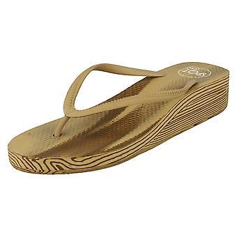 Hyvät paikalla puolivälissä kiila Toe Post sandaalit F10273