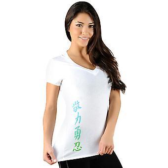 Kanji Performance V Neck T-Shirt Jaco féminines-blanc