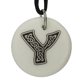 Handmade Celtic Initial Round Shaped Porcelain Pendant - Letter 'Y'