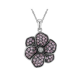 Created Pink Sapphire and Diamond Flower Pendant Necklace 1.00 Carat (ctw) in Sterling Silver with Chain