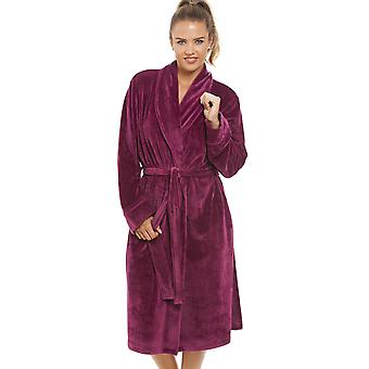 Camille Luxurious Heavy Weight Soft Rose Pink Velour Dressing Gown