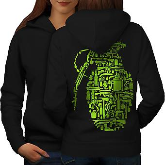 Gun Grenade War Gangster Women BlackHoodie Back | Wellcoda