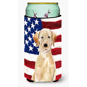 Yellow Labrador Patriotic Tall Boy Beverage Insulator Hugger