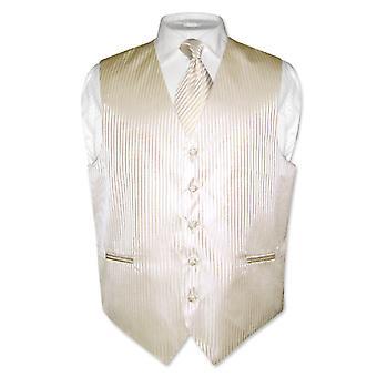 גברים ' s אפוד שמלה & עניבה מפוספס אנכי עיצוב הצוואר עניבה