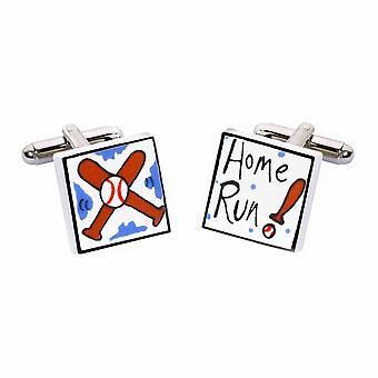 Home Run Cufflinks by Sonia Spencer, in Presentation Gift Box. Baseball