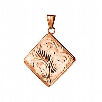 9ct Rose Gold 22mm hand engraved flat diamond shaped Locket