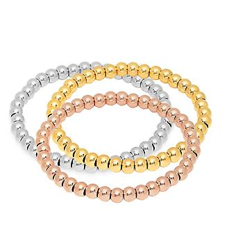 Ladies Set Of 3 Stainless Steel Beaded Stretch Bracelets