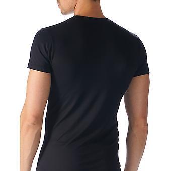 Software Top de manga curta cor preta sólida do Mey 42503-123 homens