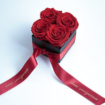 Rose red and satin ribbon preserved Seni Seviyorum box with 4 shelf life 3 years