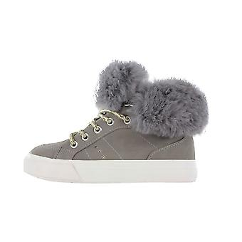 Girls Buckle My Shoe Fur Collar Beige Hi Top Fashion Trainer Shoe Various Sizes