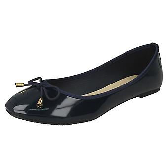 Ladies Spot On Patent Ballerina Shoes F80388 - Navy Synthetic Patent - UK Size 5 - EU Size 38 - US Size 7
