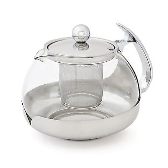 Kabalo 1200ml / 1.2 Litre Modern Contemporary Stylish Clear Glass & Stainless Steel Teapot with Loose Tea Leaf Infuser Kitchen Filter