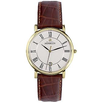 Michel Herbelin Classic Date Display Gold Stainless Steel Case Brown Leather 12248/P08MA Watch