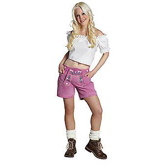 Lederhose Damen pink Oktoberfest Bayernhose Sexy Hose Kostüm für Damen