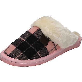 Cushion-Walk Beige/Brown Check Slipper Mules Plush Slip On