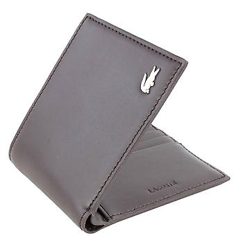 Lacoste Small Slim Billfold and ID Slot Wallet - Dark Brown