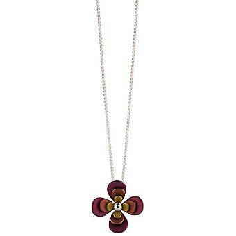Ti2 Titanium Doppel vier Blütenblatt Blume Halskette - Brown