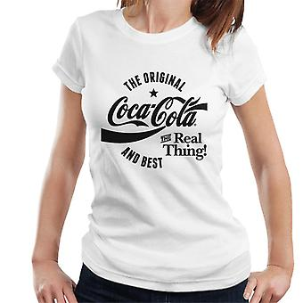 Official Coca Cola Original And Best Black Text Women's T-Shirt