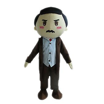 mascot SPOTSOUND of man in a suit. SPOTSOUND of mustachioed man mascot