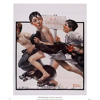 No Swimming Poster Print by Norman Rockwell (18 x 22)