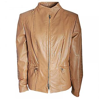 Javier Simorra Short Leather Jacket With Pleat Detail