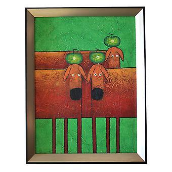 Abstrakt, oliemaleri med ramme, 30x40 cm