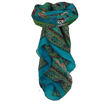 Amoreira seda tradicional lenço quadrado Farrin Aquamarine por Pashmina & seda