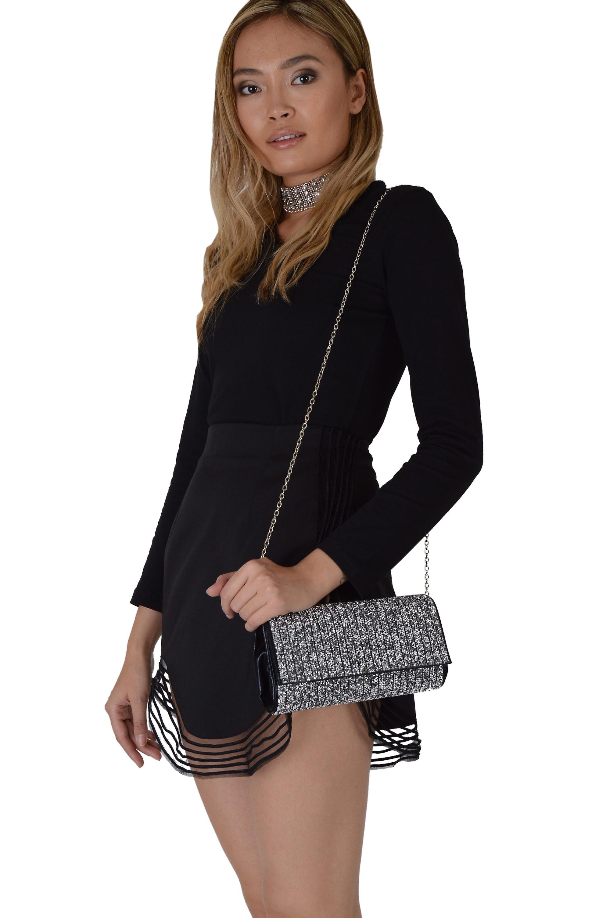 Lovemystyle Black Glitter Side Bag With Silver Metal Strap