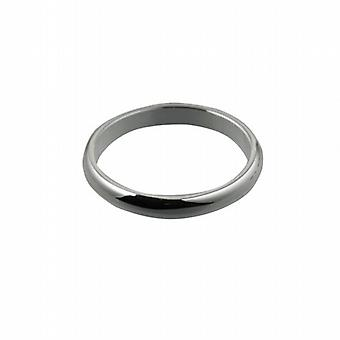 9ct White Gold 3mm plain D shaped Wedding Ring Size Z