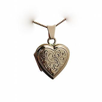 9 kt Rose Gold 17x17mm hånd graveret flad hjerteformet medaljon med en bremse kæde 24 inches